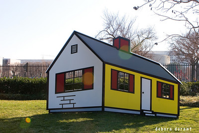 outdoor sculpture house optical illusion