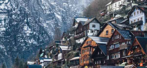 assorted color wooden house on mountain