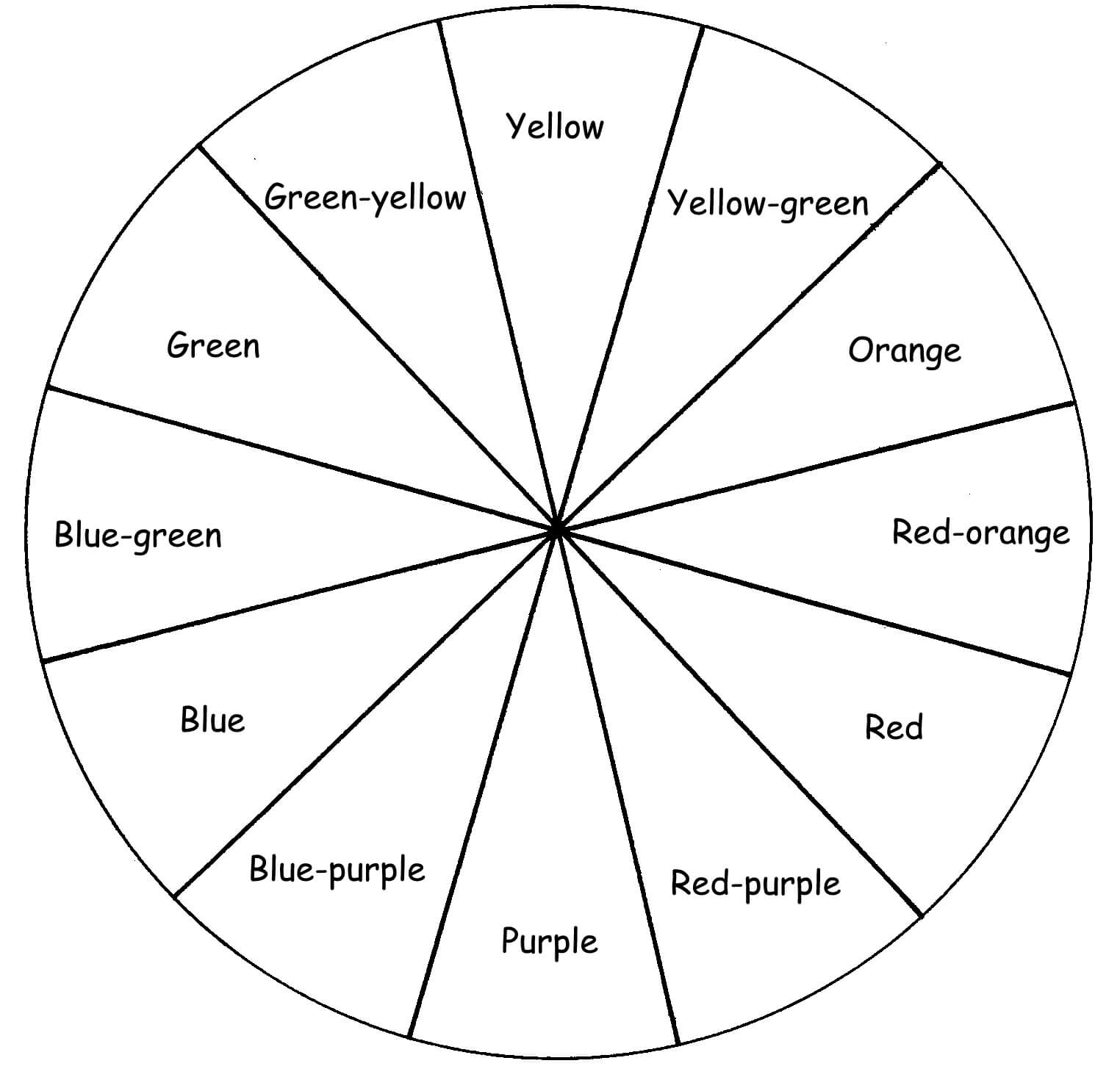 Blank Color Wheel Worksheet