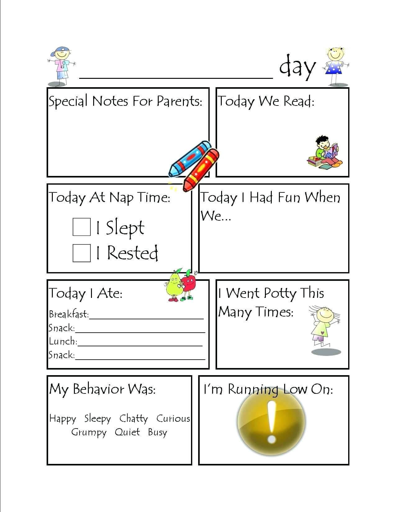 Kids Worksheets Daycare Activity Planning Sheet Sheets