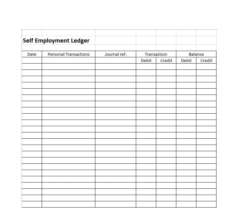 graphic about Free Printable Ledger Sheets identified as Self Positions Ledger Template Excel - Absolutely free Obtain