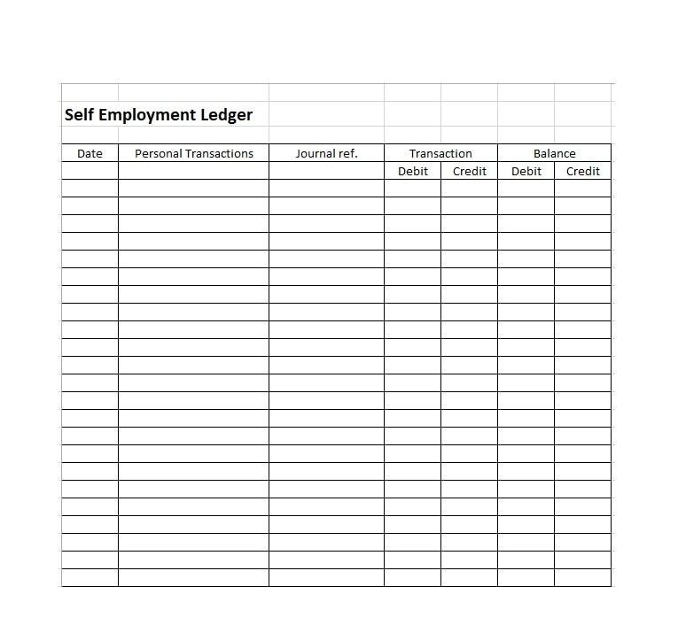 photograph relating to Free Printable Ledger Sheets titled Self Work opportunities Ledger Template Excel - Totally free Obtain