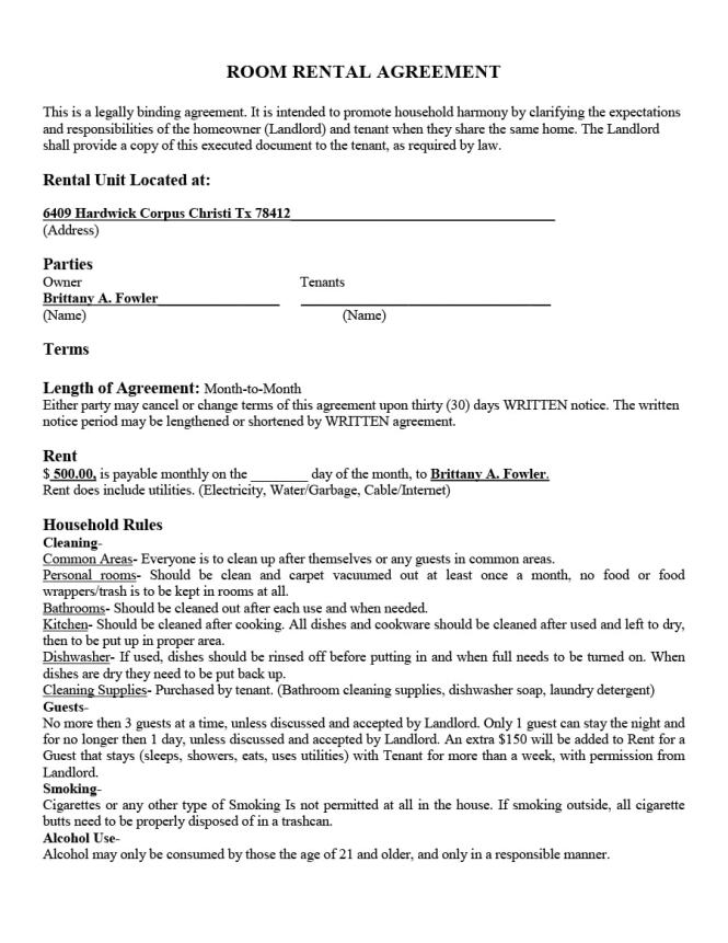 39 Simple Room Al Agreement Templates Template Archive