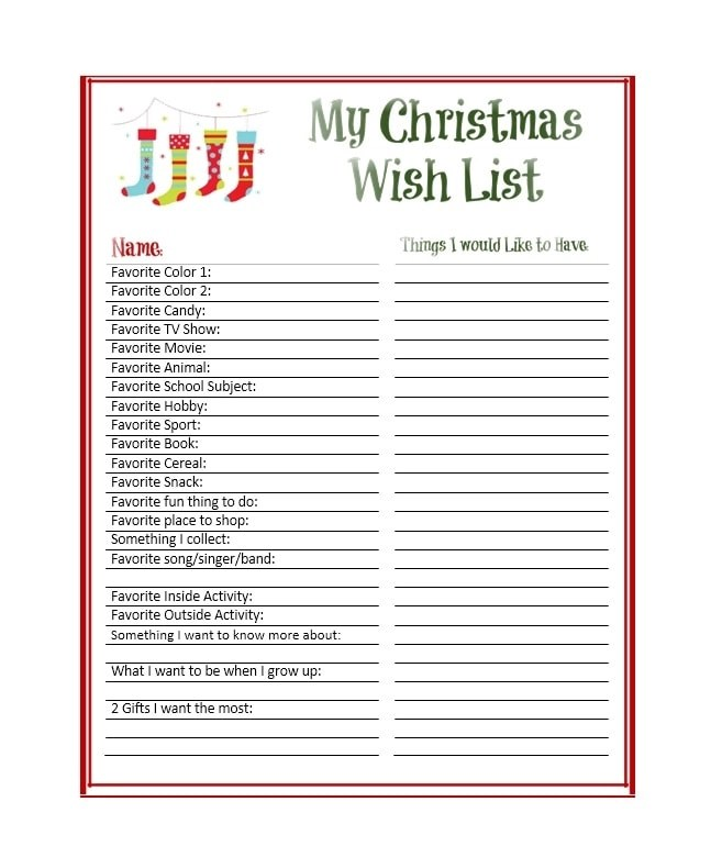 43 Printable Christmas Wish List Templates Ideas Templatearchive