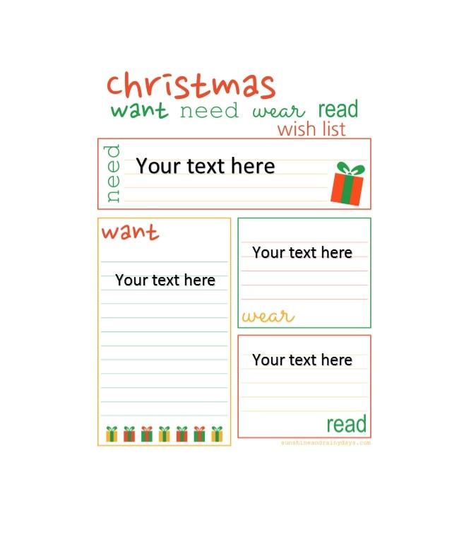 Printable Christmas Wish List Ideas.Cute Christmas Wish List Template Free Printable