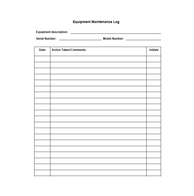 The database is divided into two parts. 40 Equipment Maintenance Log Templates Templatearchive