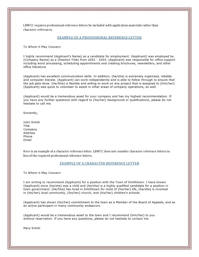 27 Character Reference Letter Templates - TemplateArchive