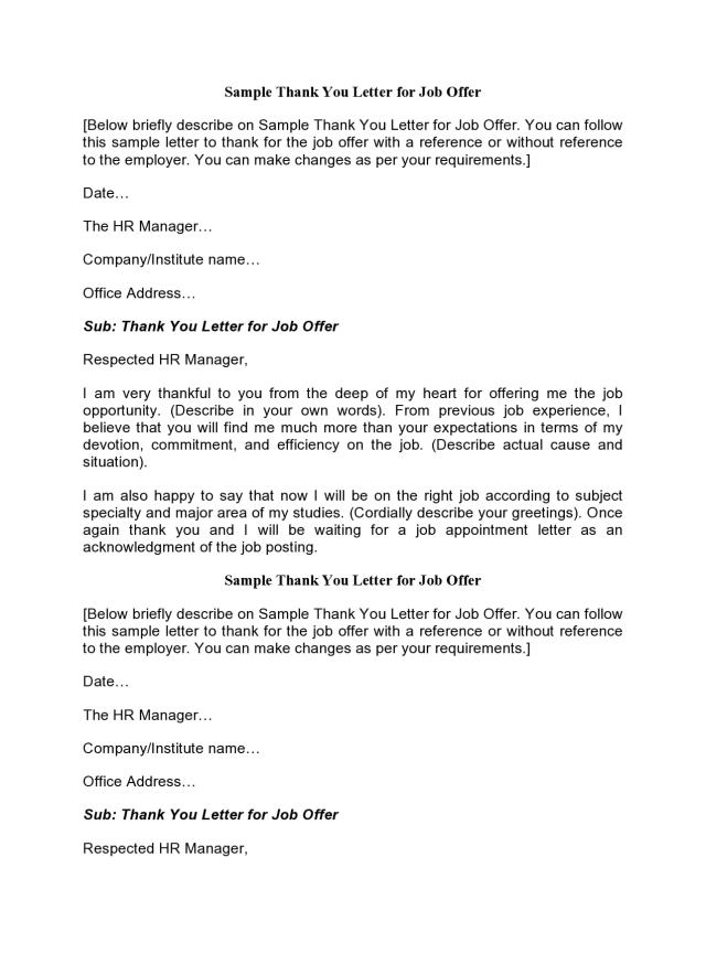 22 Professional Thank You Letters For Job Offer (Free)