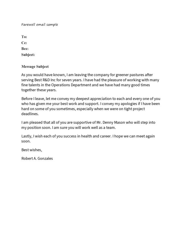10 Perfect Farewell Letters (to Boss or Colleagues) - TemplateArchive