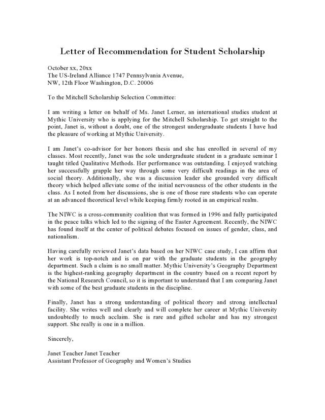 15 Recommendation Letter For Scholarship Samples - TemplateArchive