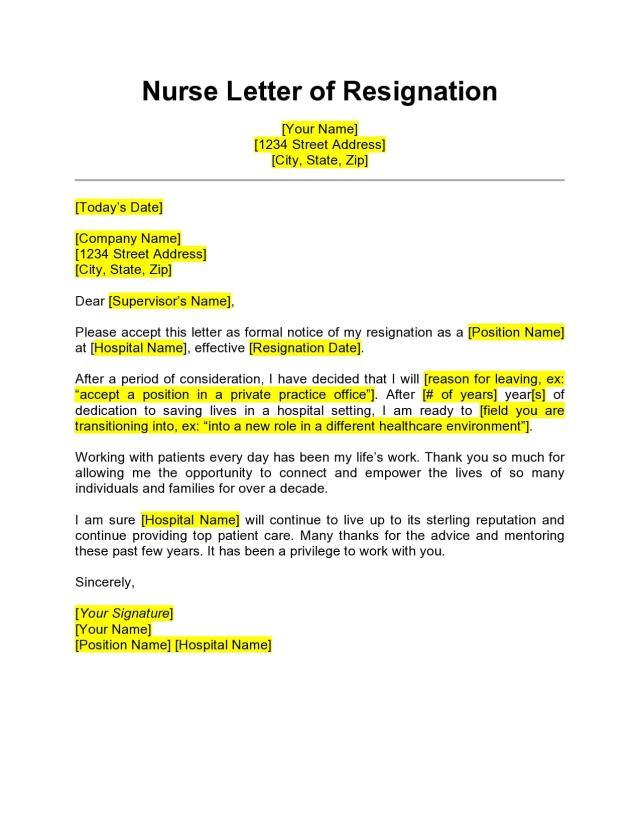 25 BEST Nursing Resignation Letters & Samples - TemplateArchive