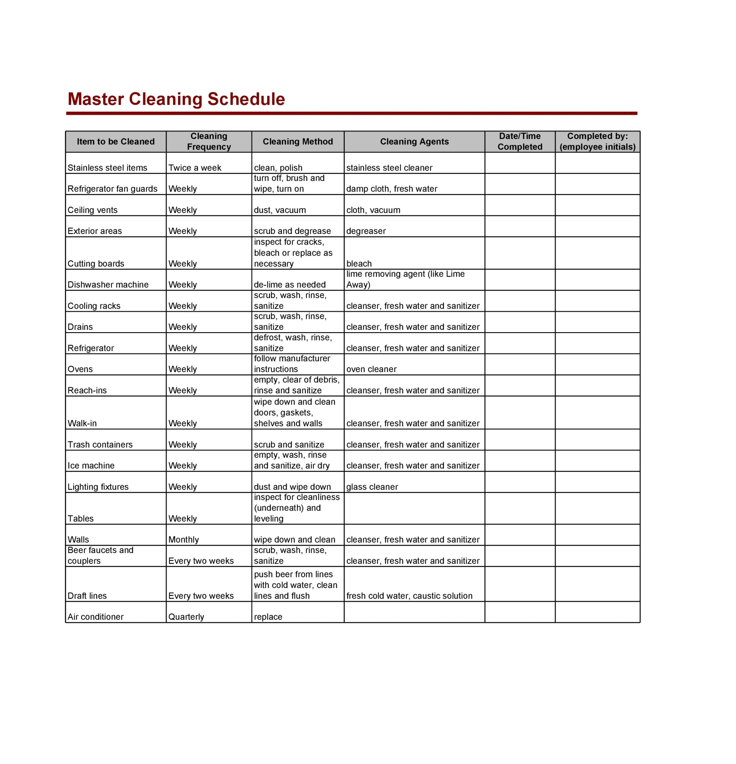When making an employee schedule, find out who's available when, have employees fill in their preferred hours and then you fill in the rest. 30 Free Cleaning Schedule Templates Daily Weekly Monthly