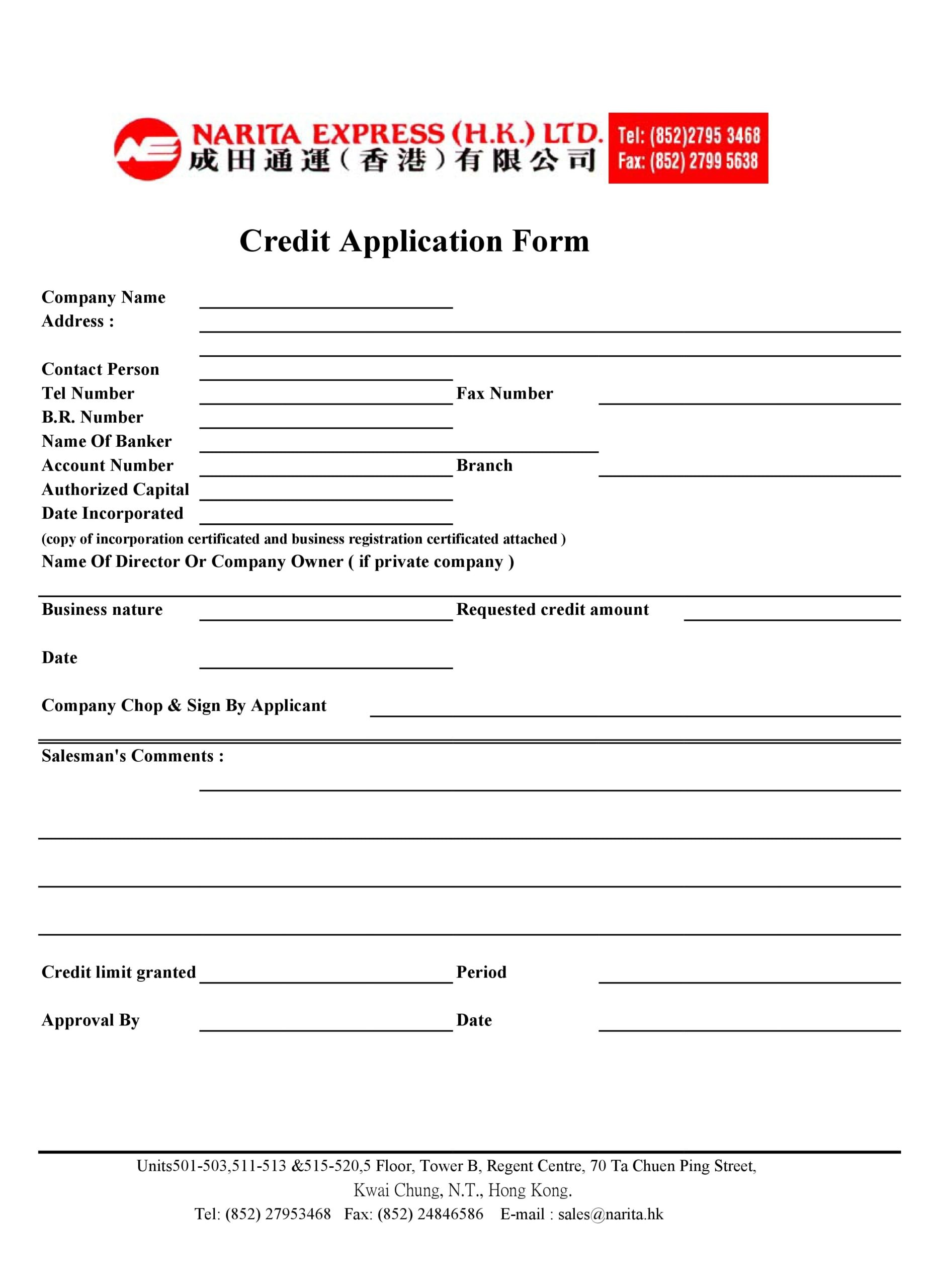 We believe everyone should be able to make financial decisions with confidence. 30 Free Credit Application Templates Business Generic