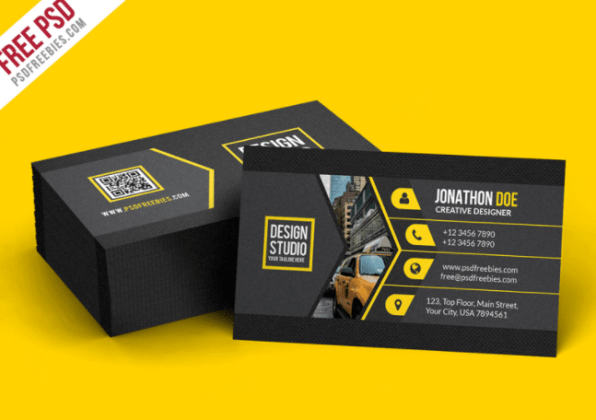Top 20 Free Business Card Templates For 2018   TemplateByte This Black Business Card Template PSD is proficient present day and  inventive business card format  very cool to demonstrate your personality  to other