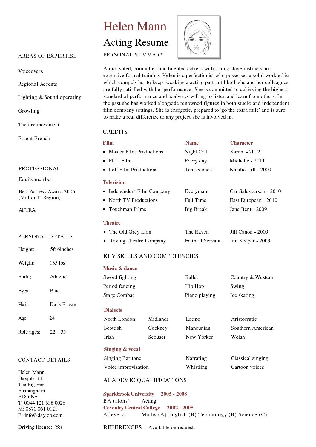 Free Actor Resume Template And How To Write Yours Properly