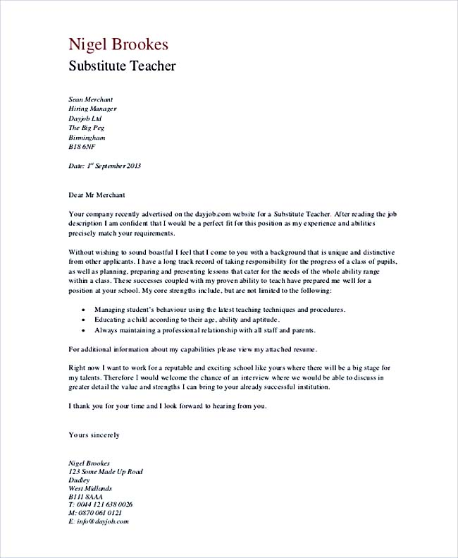 Sample Cover Letter For Substitute Teaching Job No Experience Gosu