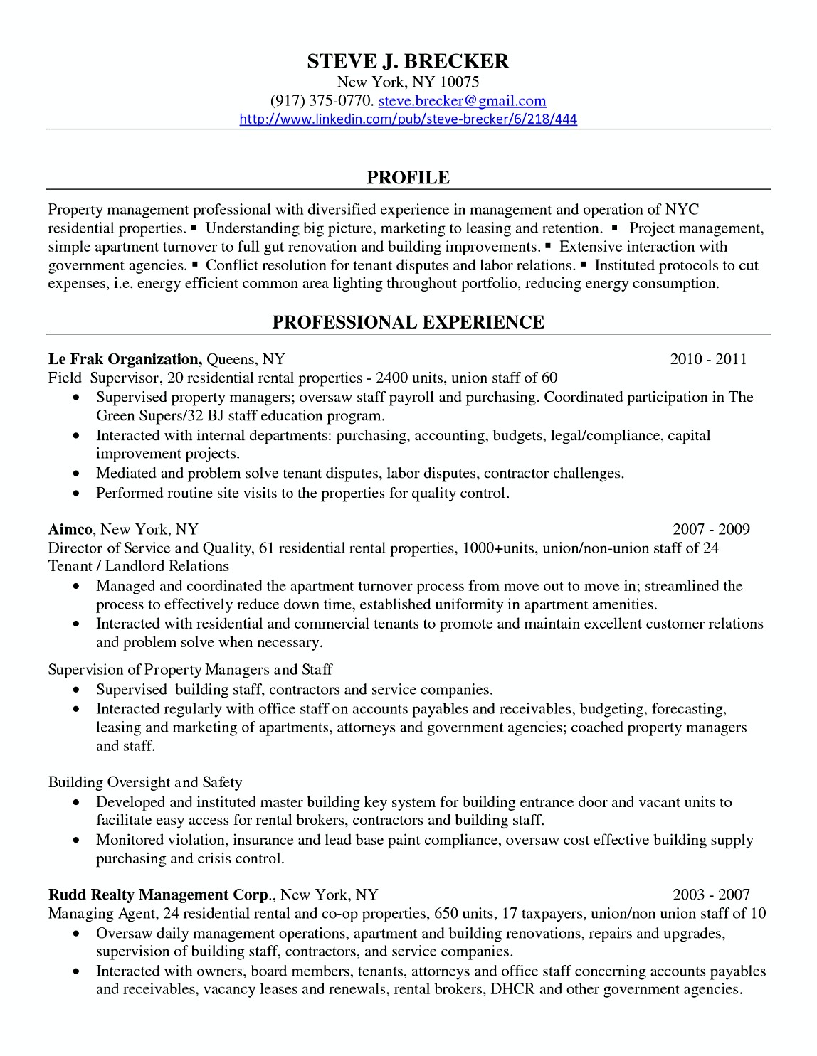 Commercial Property Manager Resume