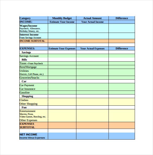 Blank Spreadsheet Printable