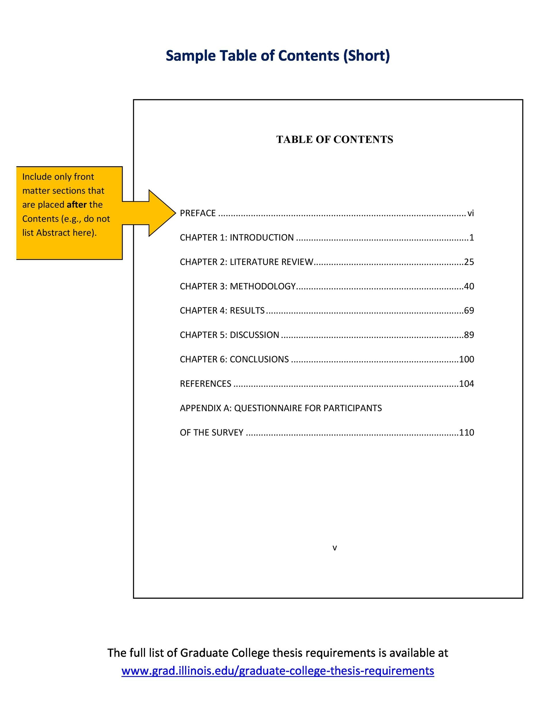 Lab Report Table Of Contents How To Write A Table Of