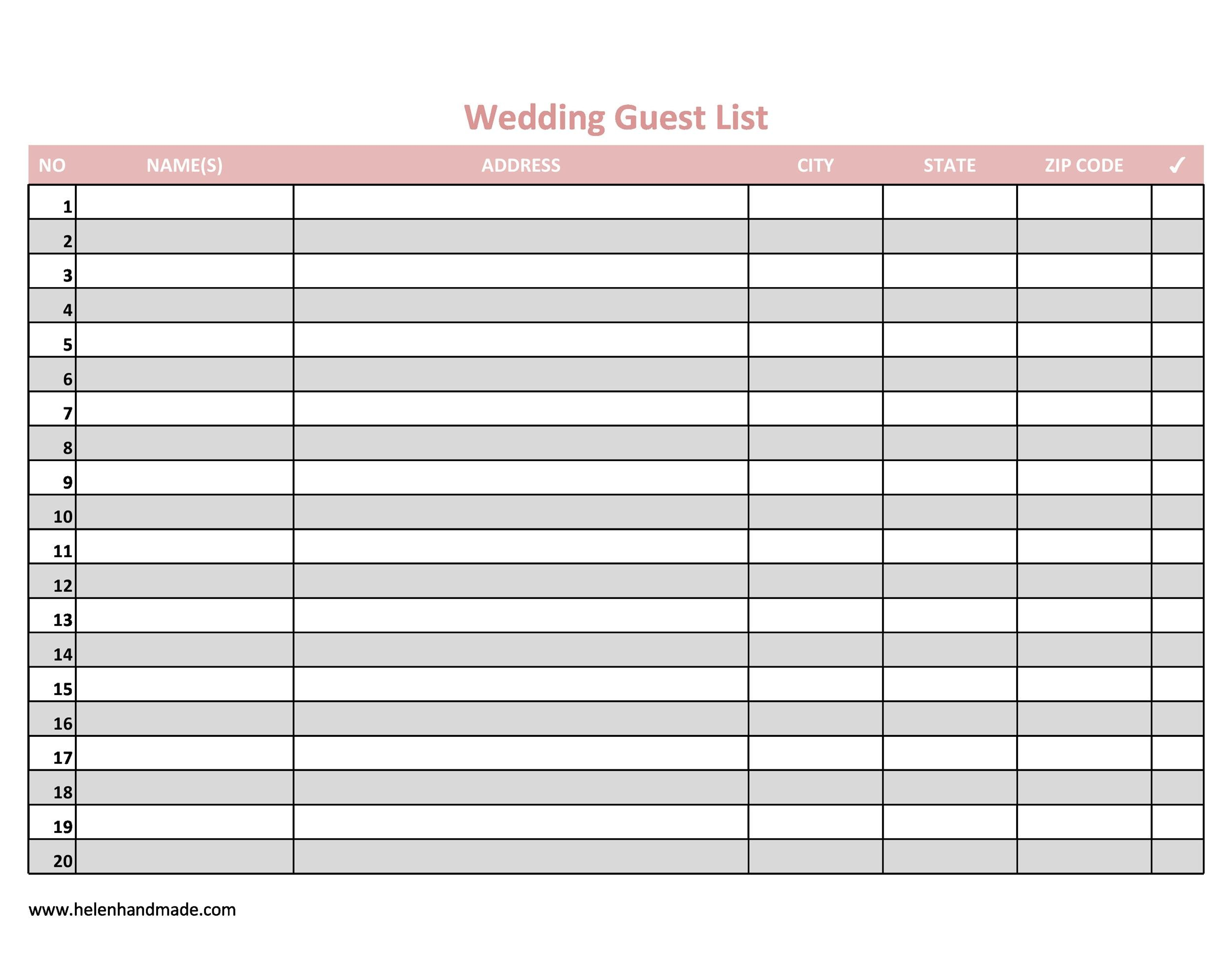 Wedding Guest List Printable That Are Dynamic