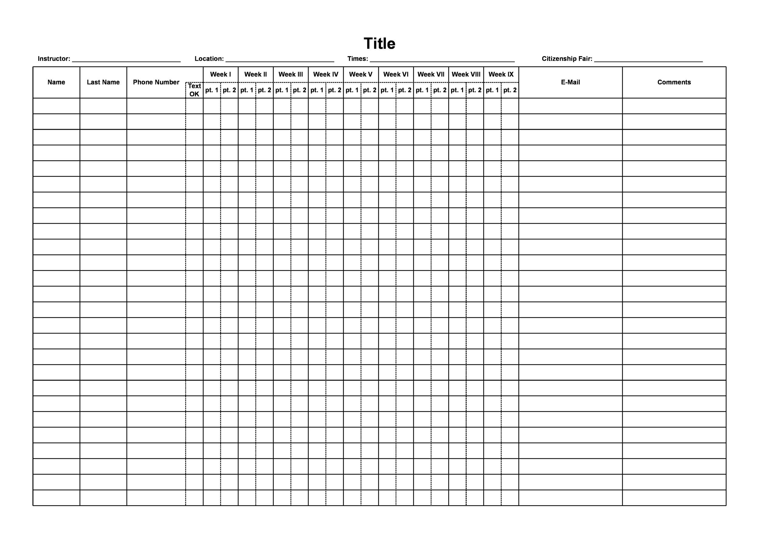 43 Free Printable Attendance Sheet Templates
