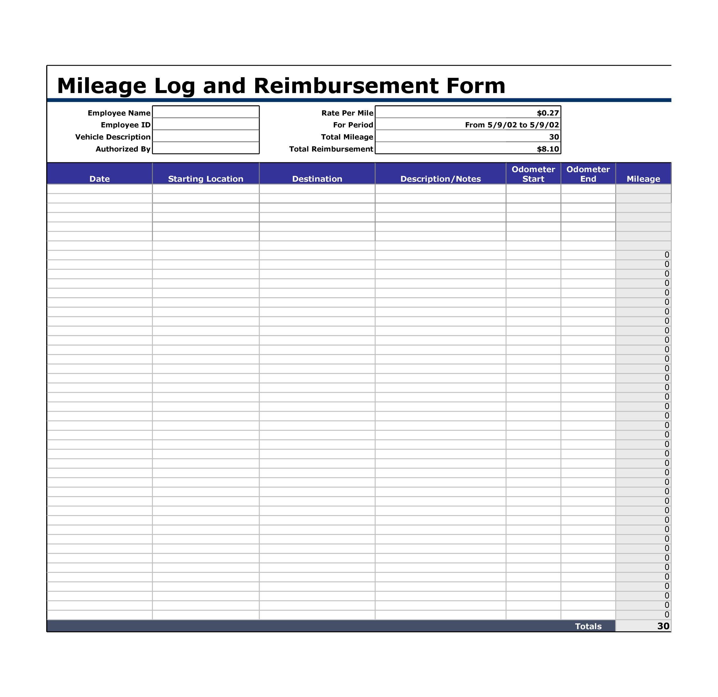 Mileage Log Templates