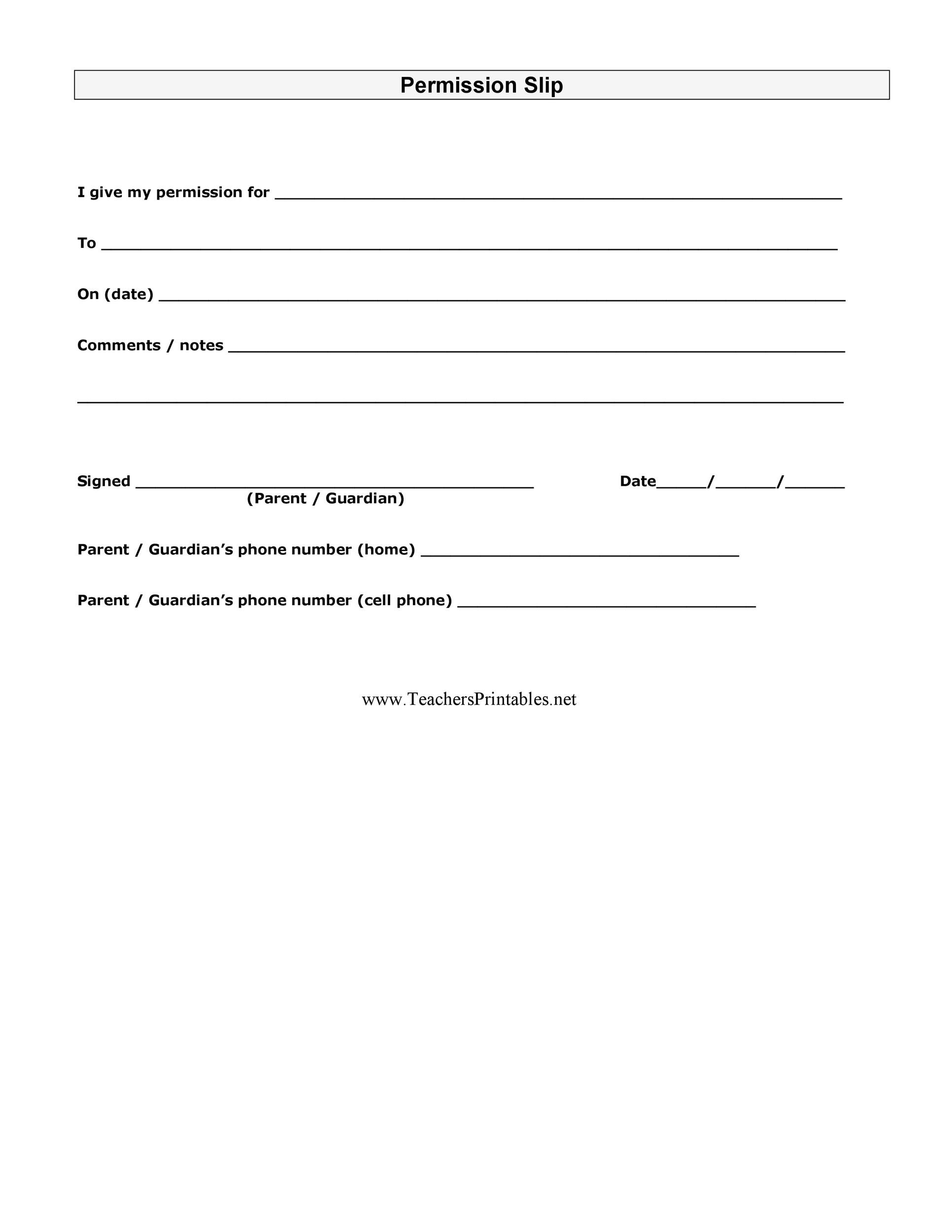 Image result for Permission Slip Template