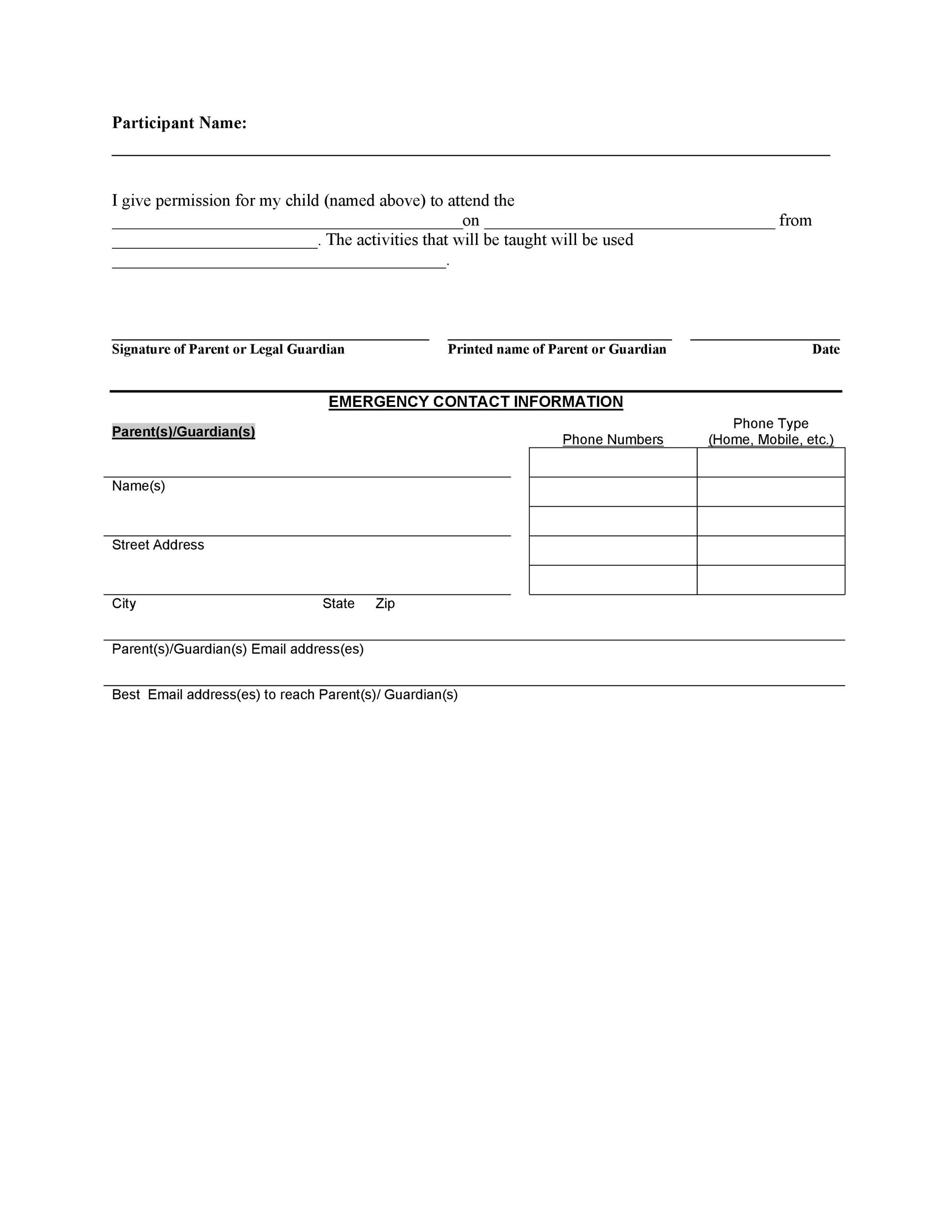 35 Permission Slip Templates Amp Field Trip Forms
