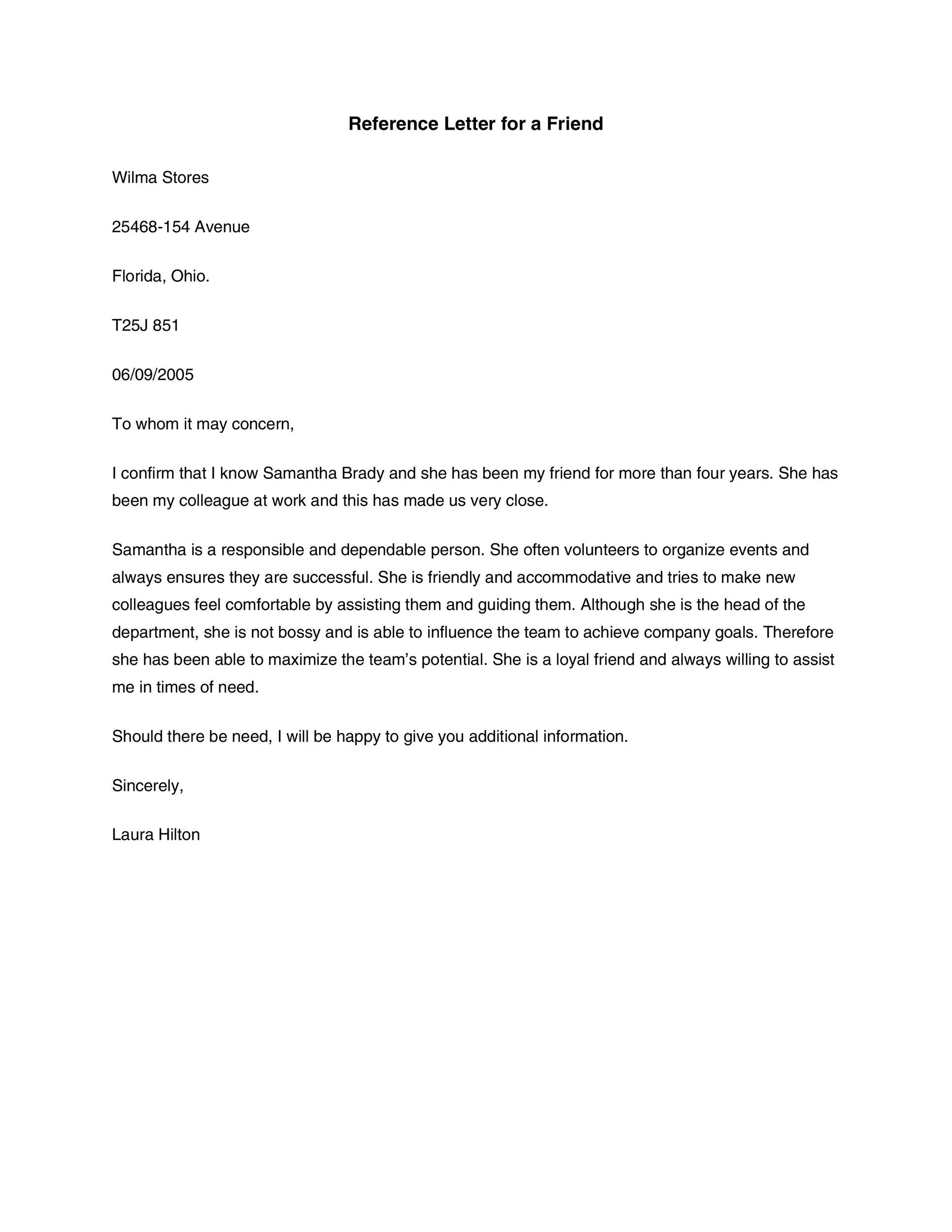 Writing A Character Reference Letter For A Student