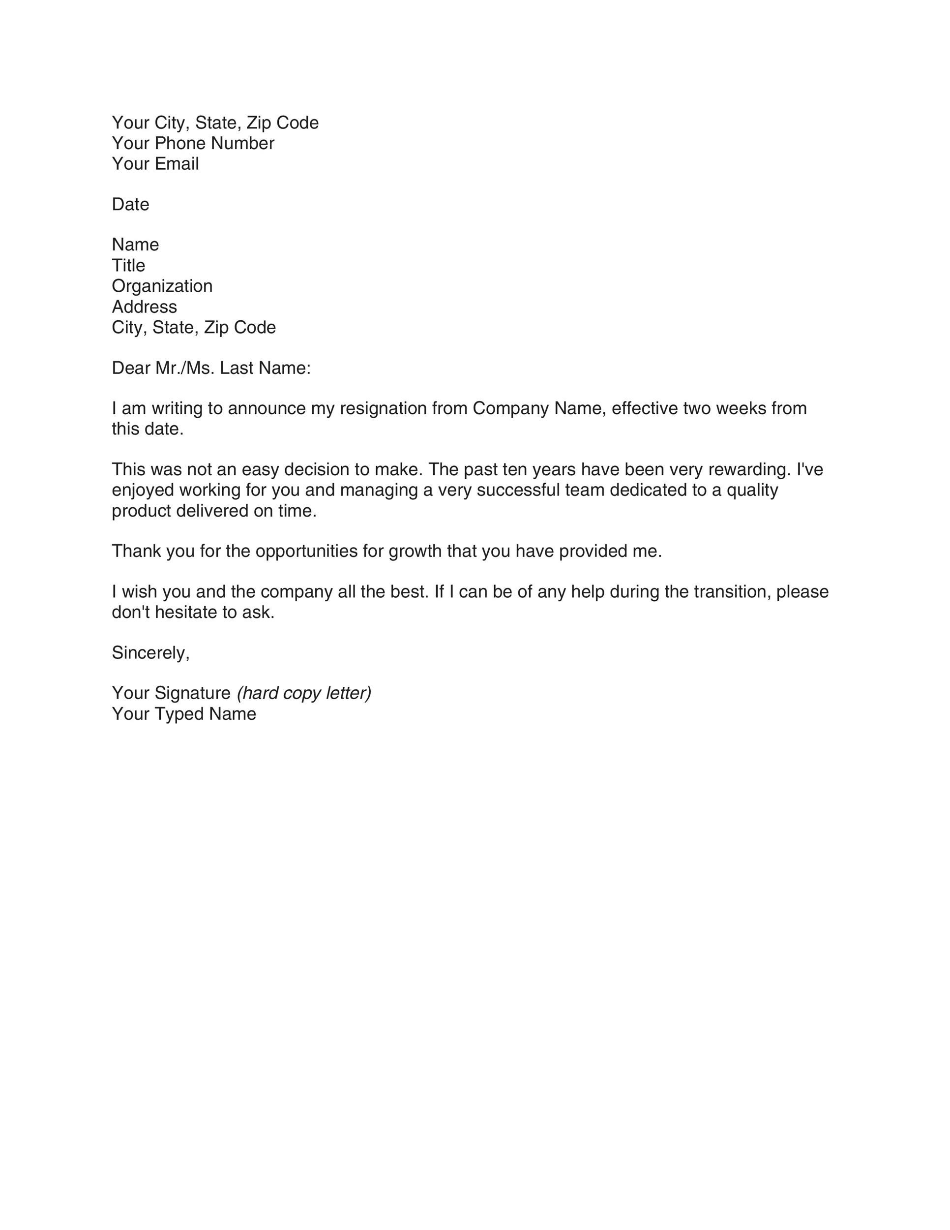 Letter Customers Announcing Change