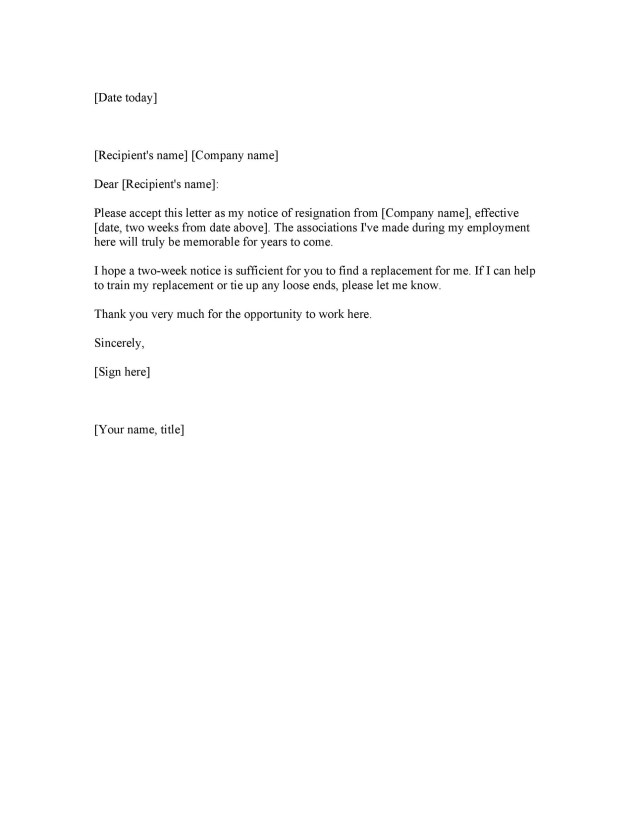 22 Two Weeks Notice Letters & Resignation Letter Templates