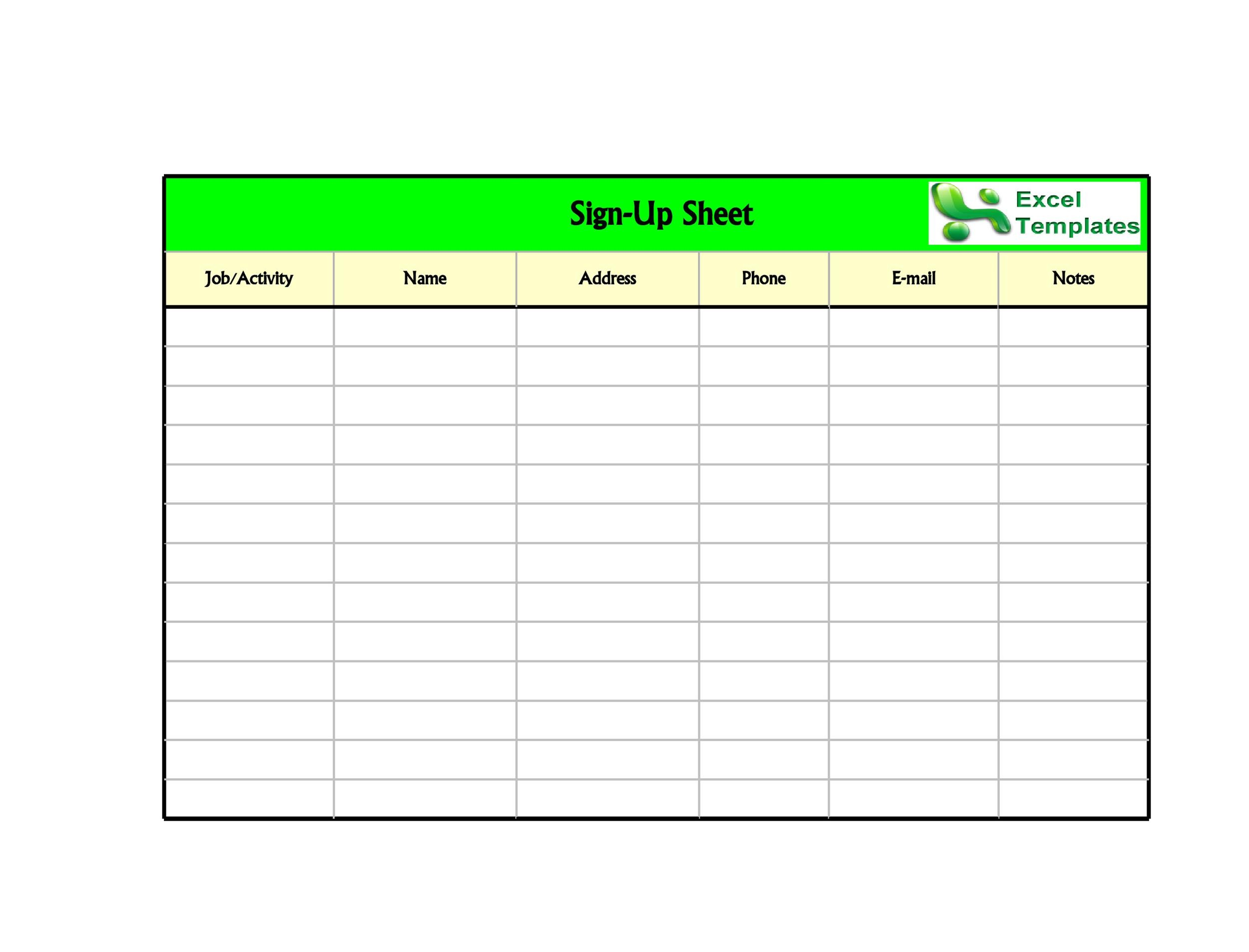 25 Best Sign Up Sheet Template Excel