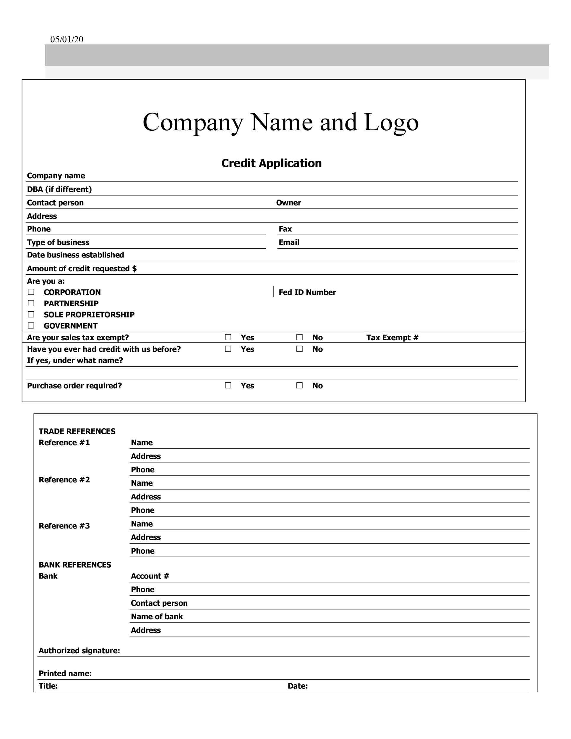 The form has sections for application information, employment information, debts, and assets. 40 Free Credit Application Form Templates Samples