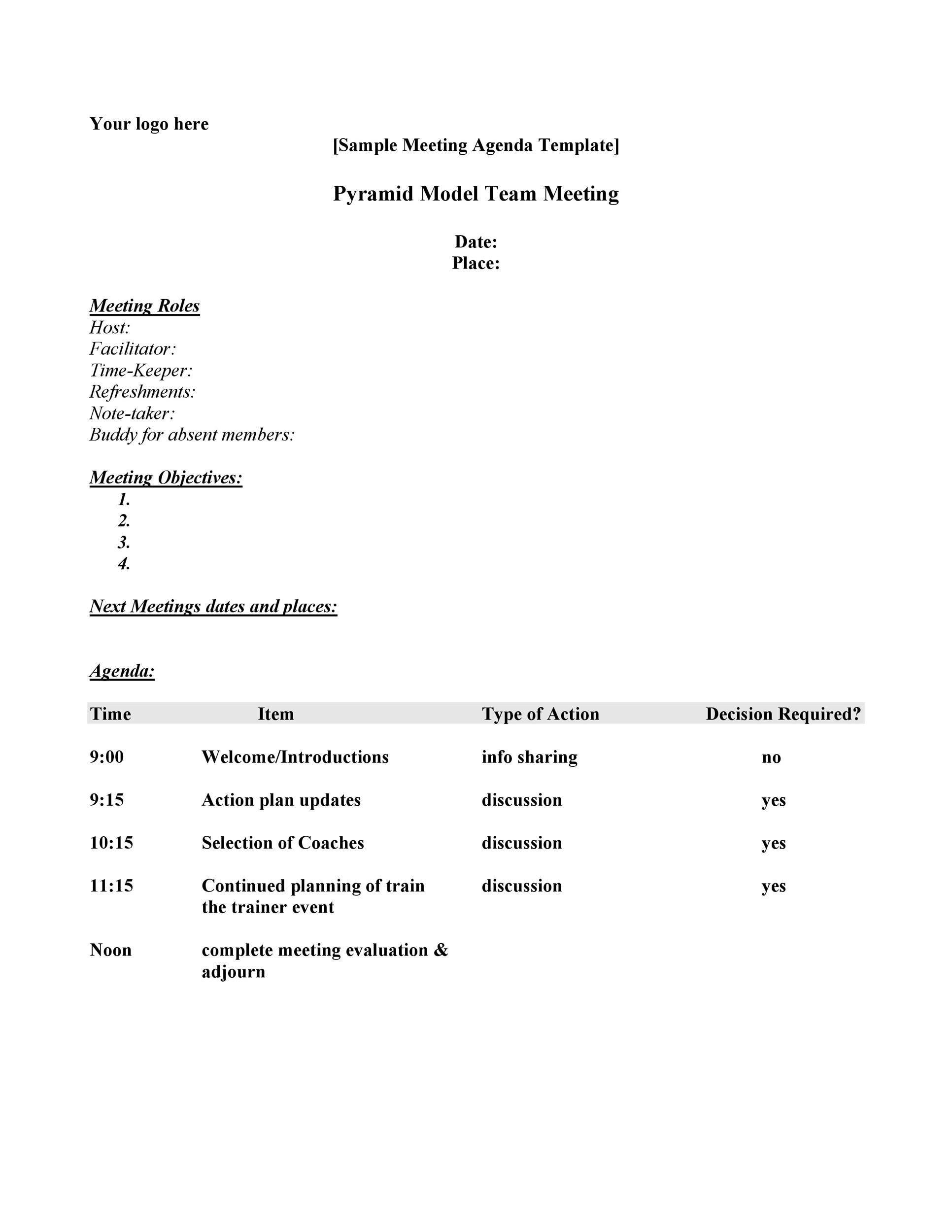 This section helps organize the conclusions which have been arrived at the meeting, thereby enabling the attendees to visualize this process a lot better and know what is required from them. 46 Effective Meeting Agenda Templates Á… Templatelab