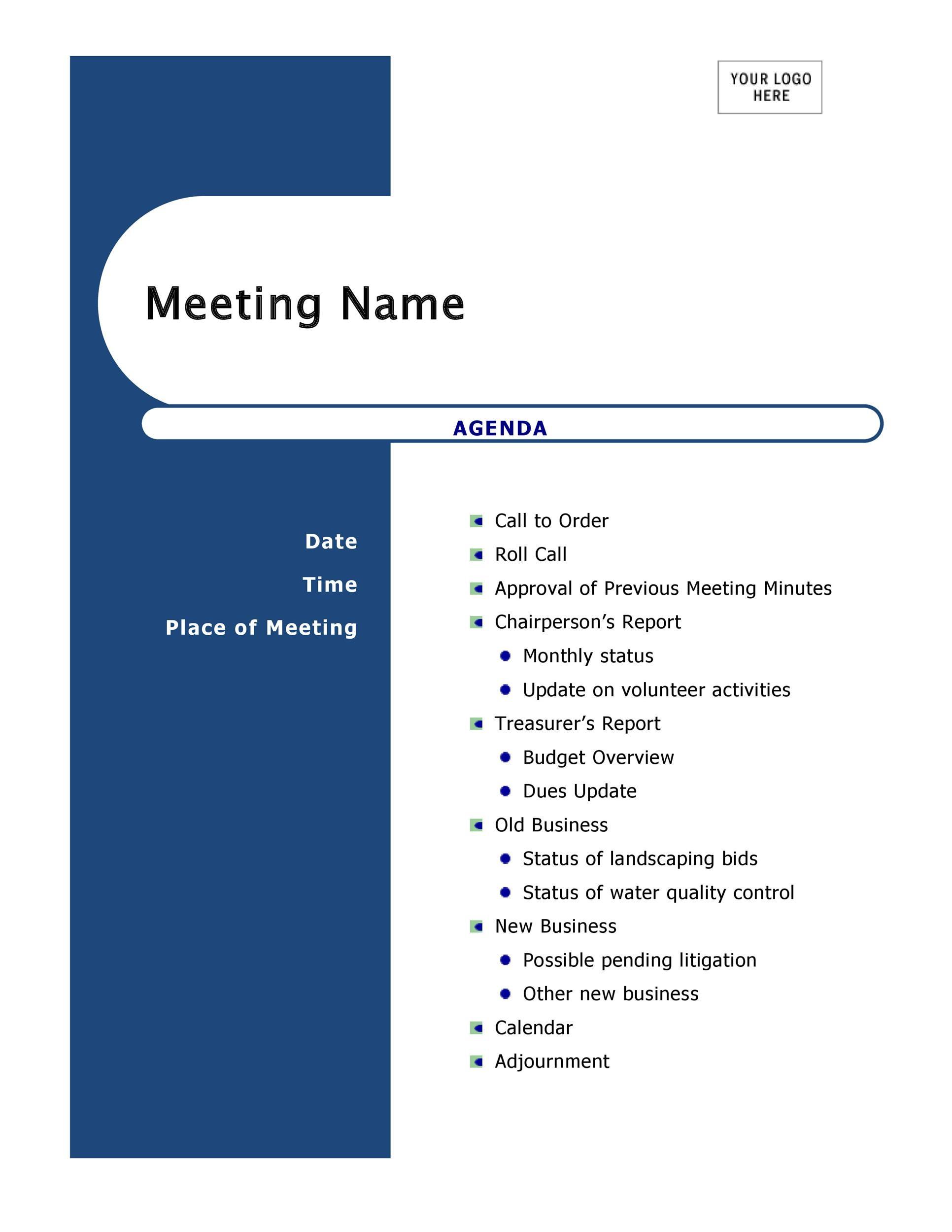 80+ free meeting agenda templates. 46 Effective Meeting Agenda Templates Á… Templatelab