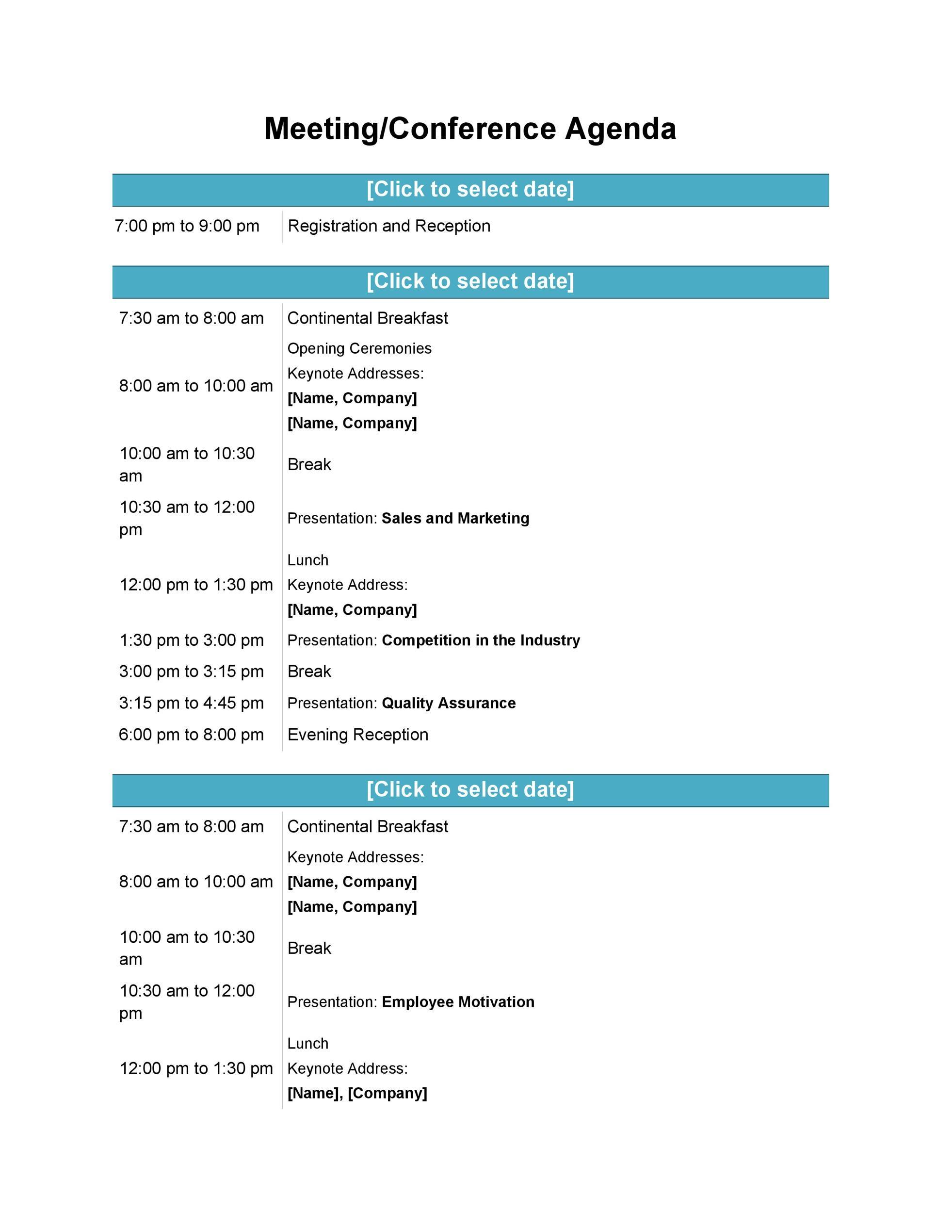 46 Effective Meeting Agenda Templates Templatelab