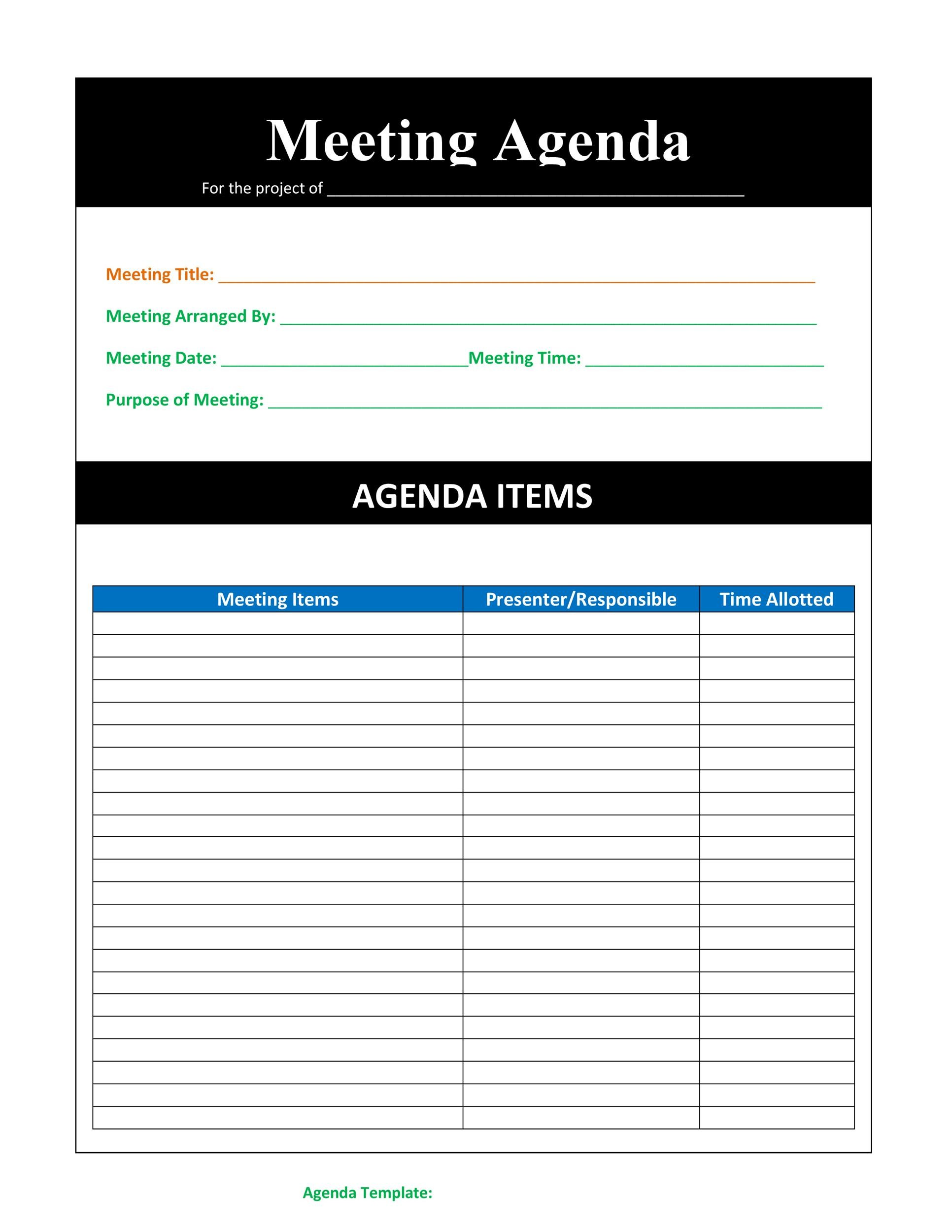 Also get tips for board minutes, including minutes for virtual meetings. 46 Effective Meeting Agenda Templates Á… Templatelab