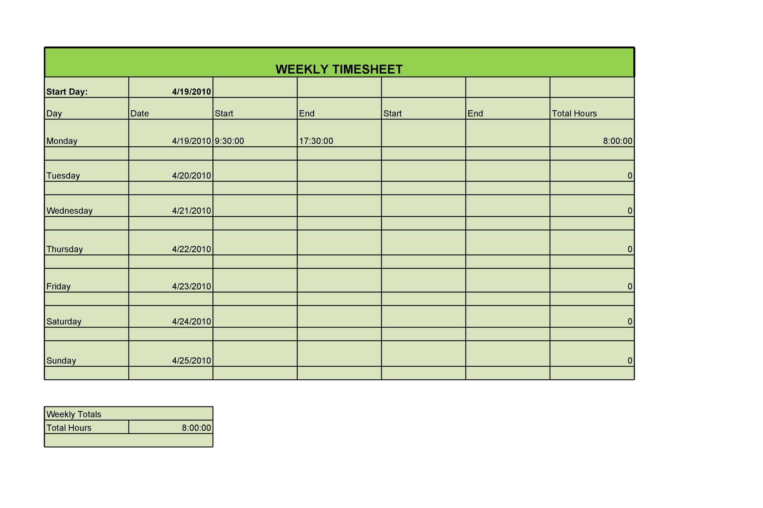 40 Free Timesheet Templates In Excel Templatelab