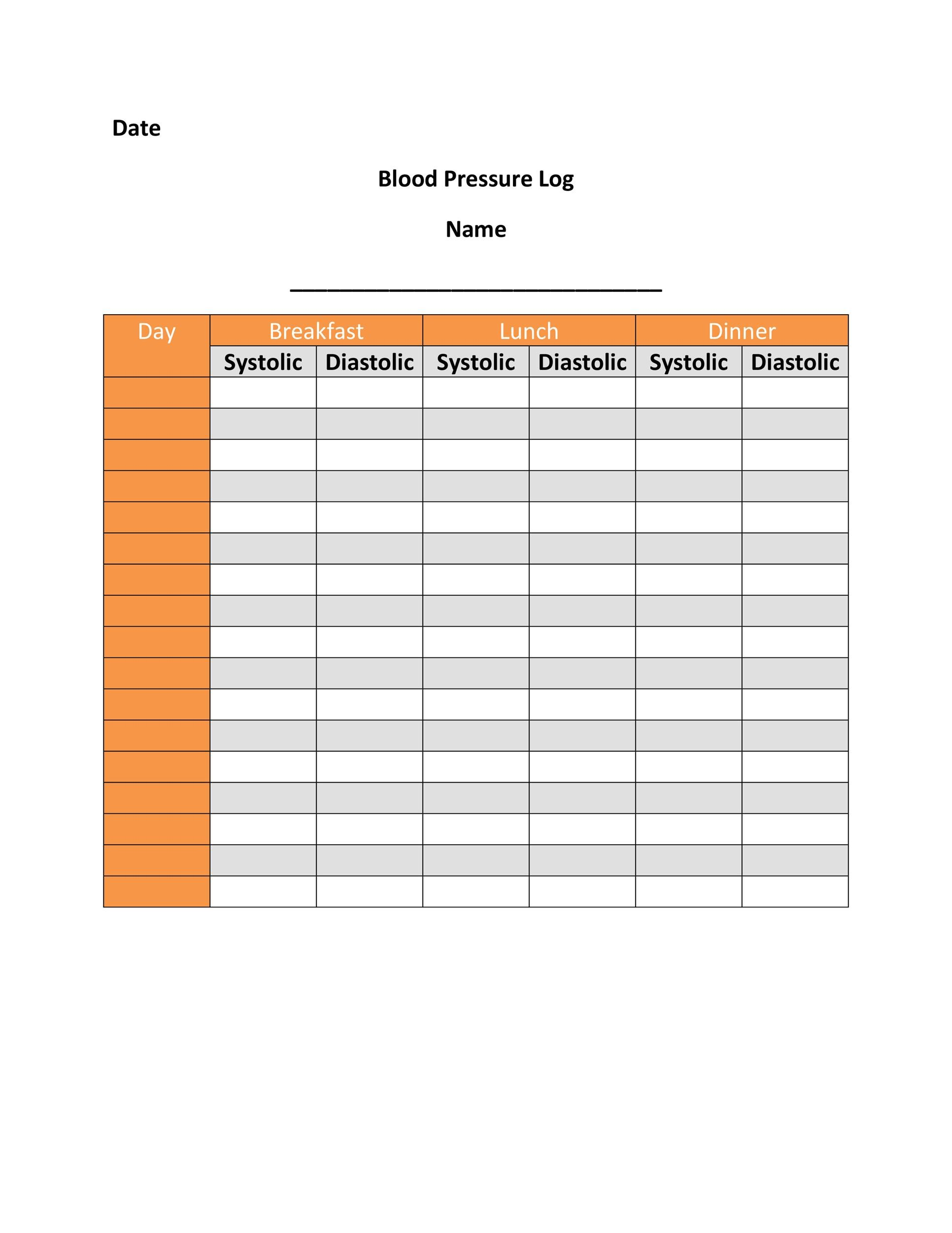 30 Printable Blood Pressure Log Templates Templatelab