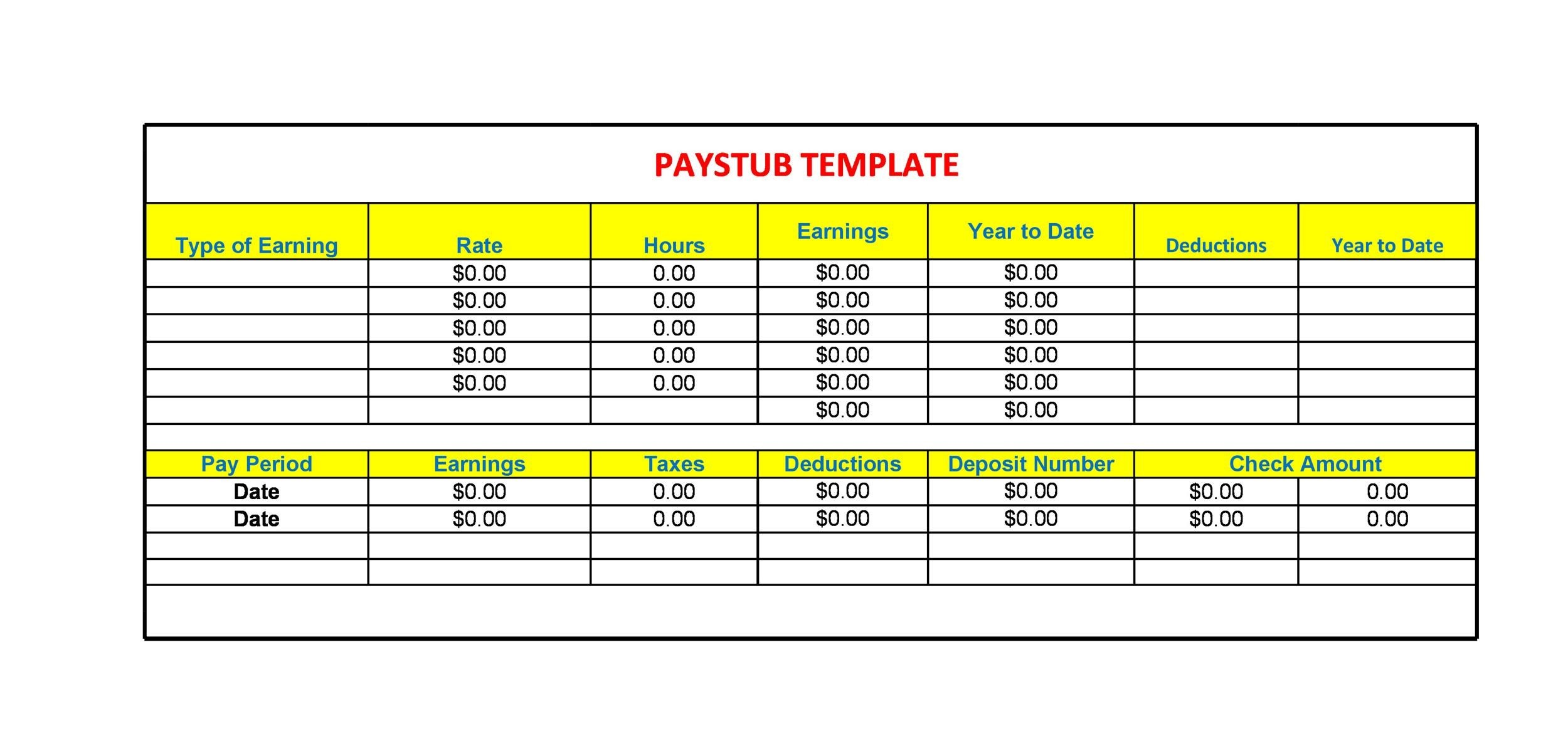 25 Great Pay Stub Paycheck Stub Templates