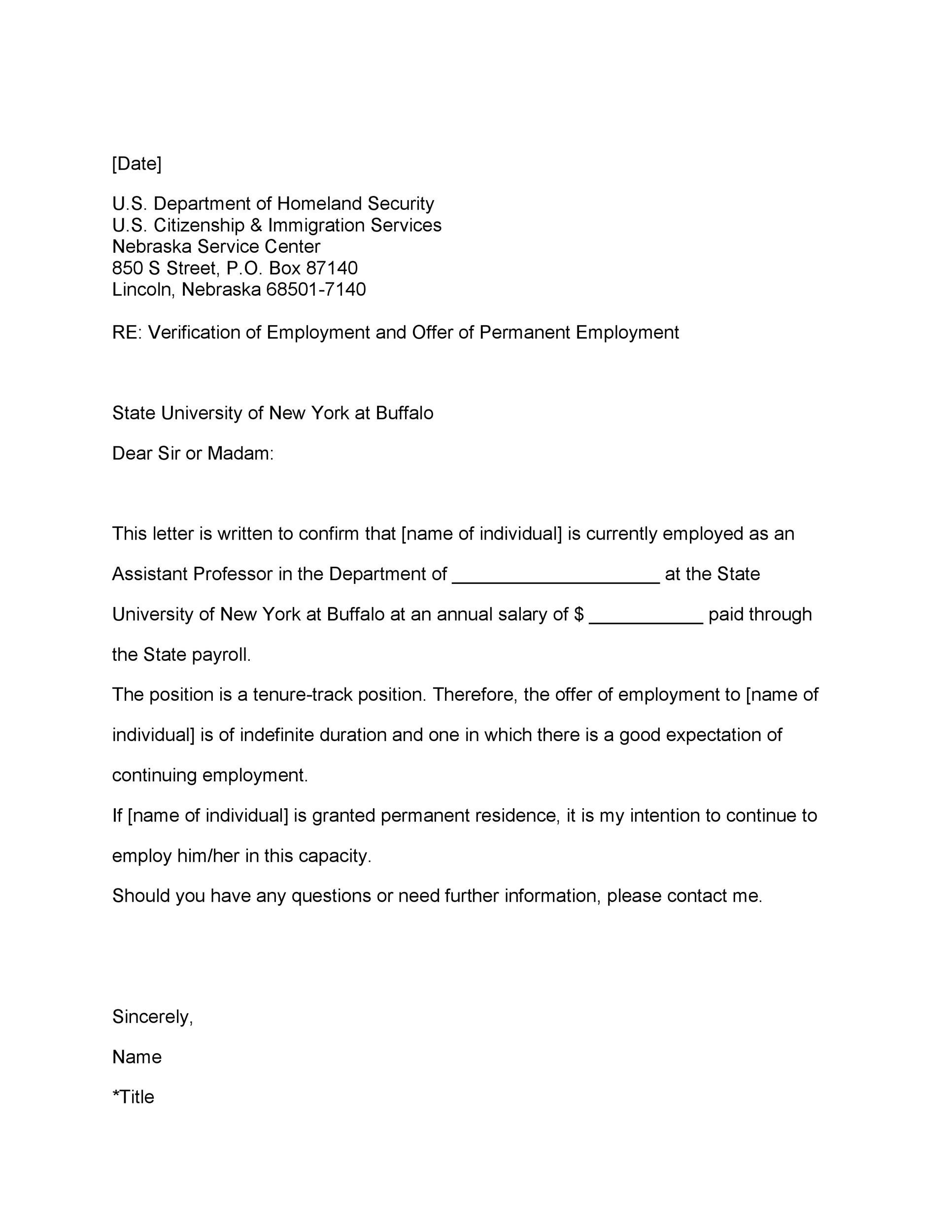 Letter Of Employment Verification For Court