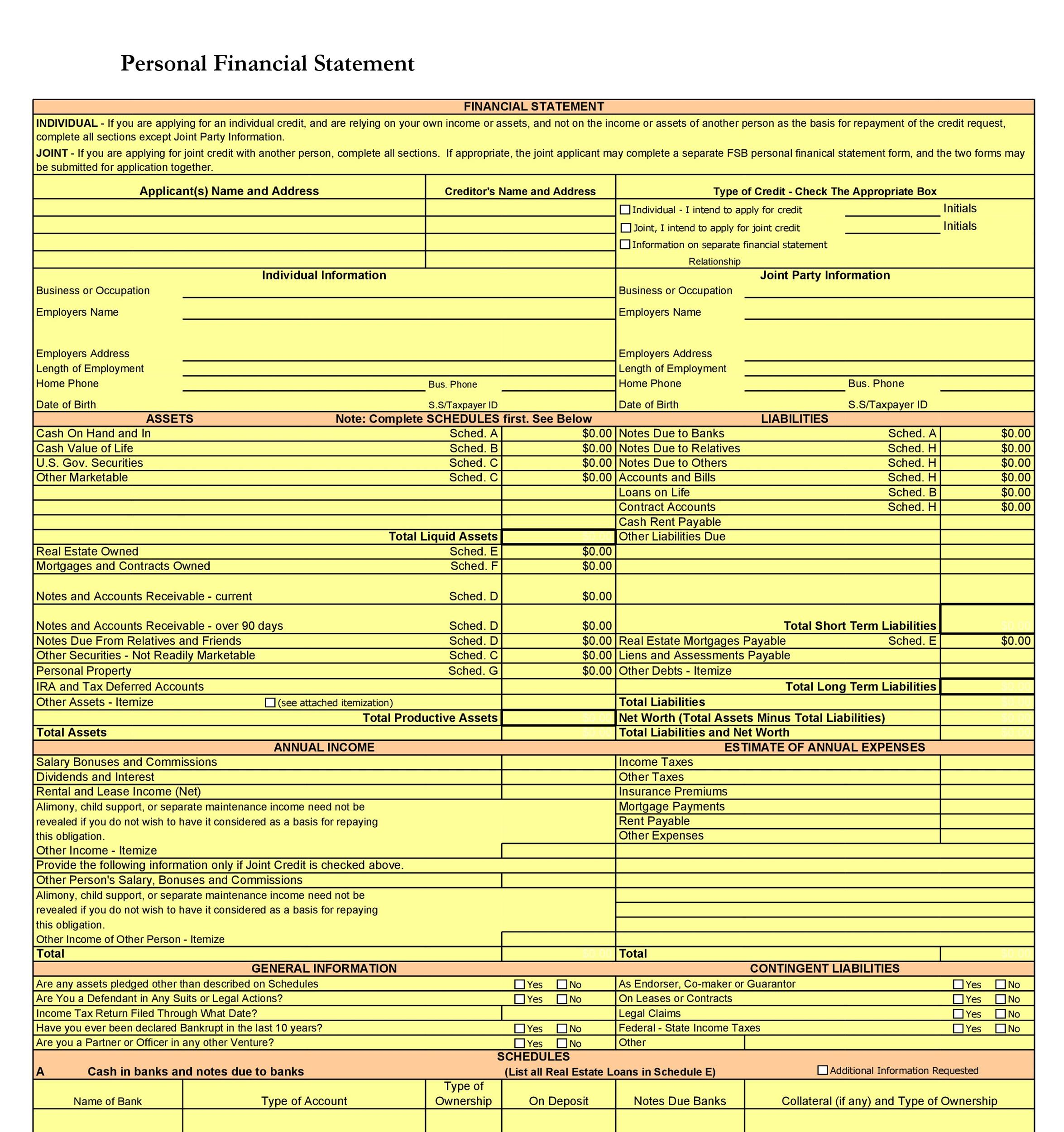 40 Personal Financial Statement Templates Amp Forms