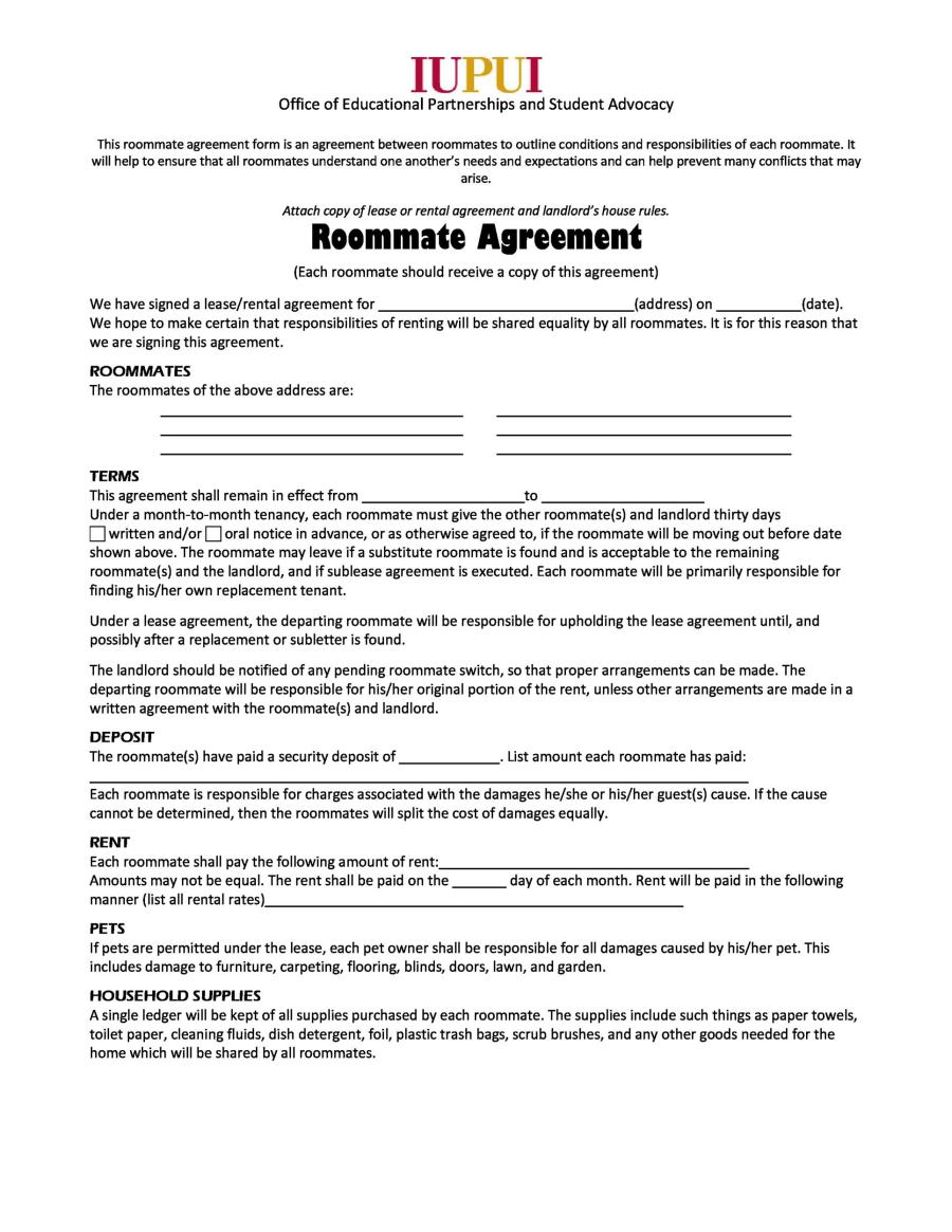 roommate rental agreement template