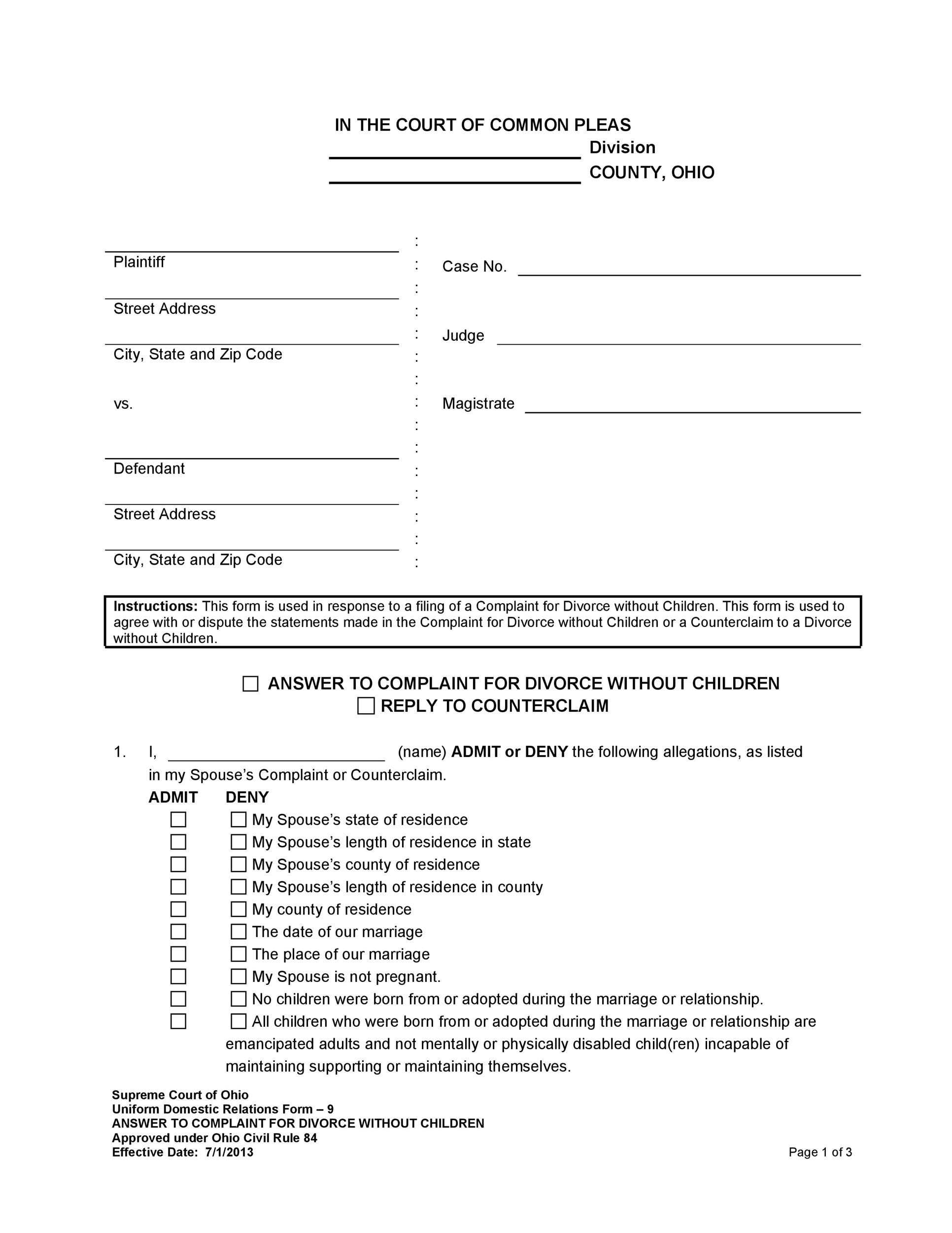 40 Free Divorce Papers Printable Templatelab