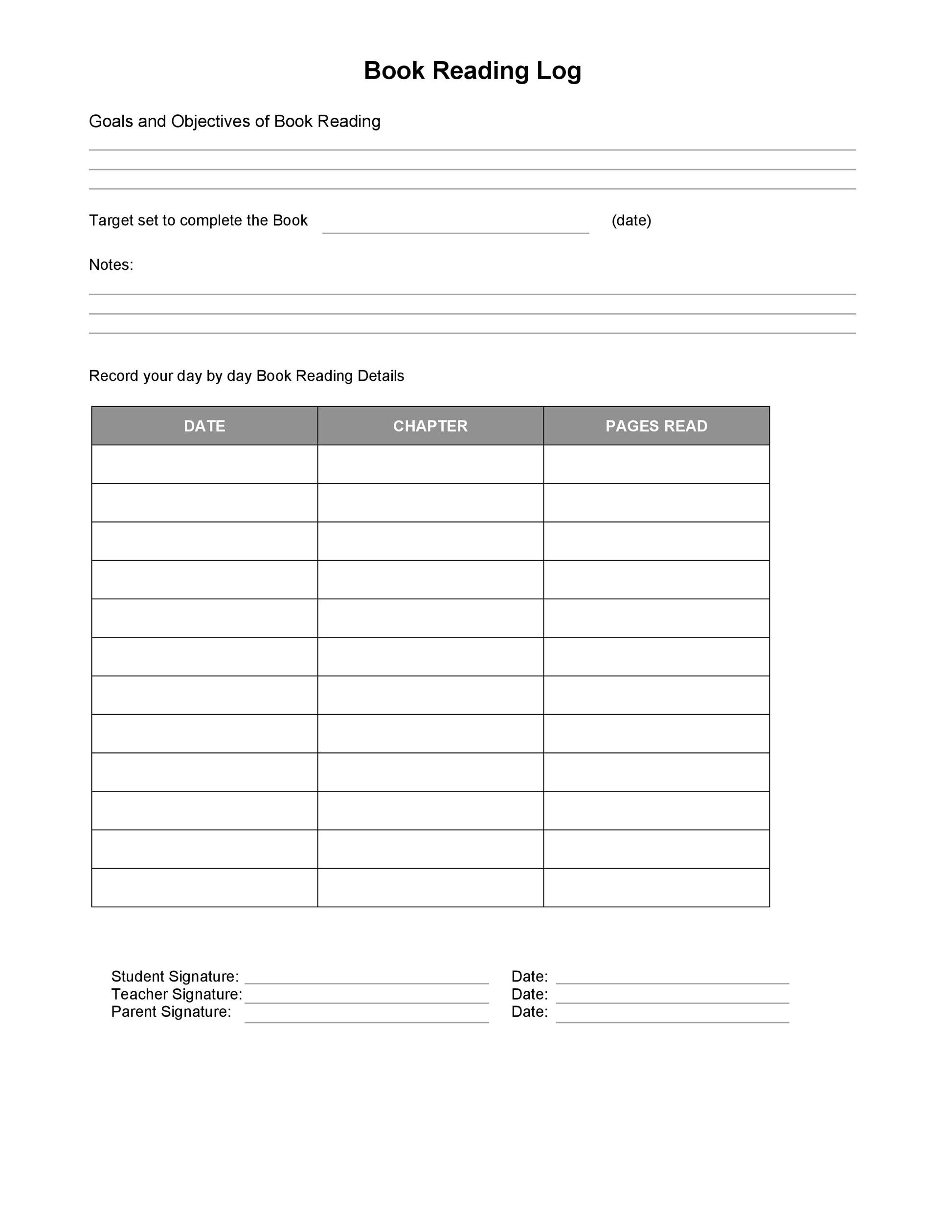 47 Printable Reading Log Templates For Kids Middle School Amp Adults