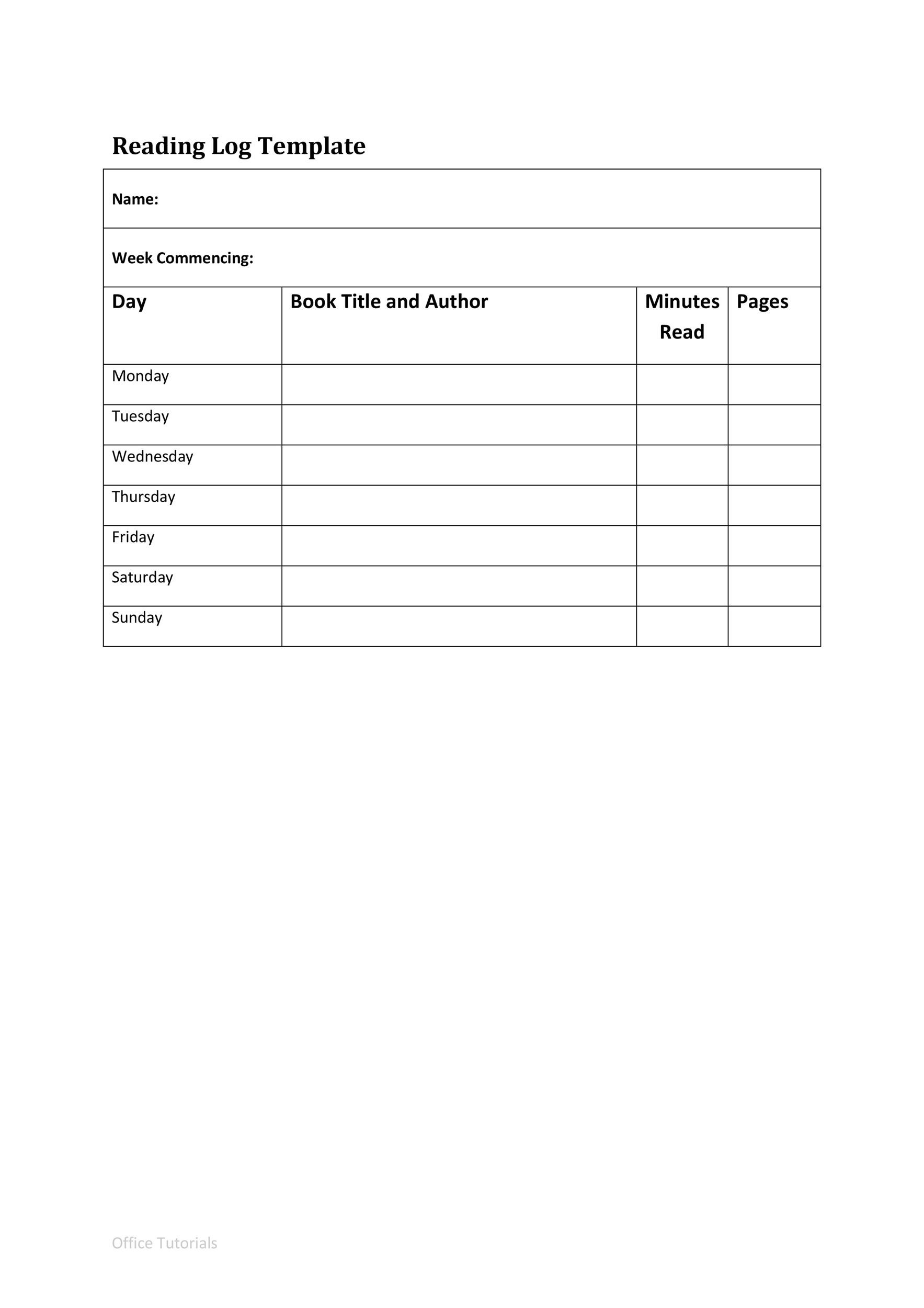 47 Printable Reading Log Templates For Kids Middle School