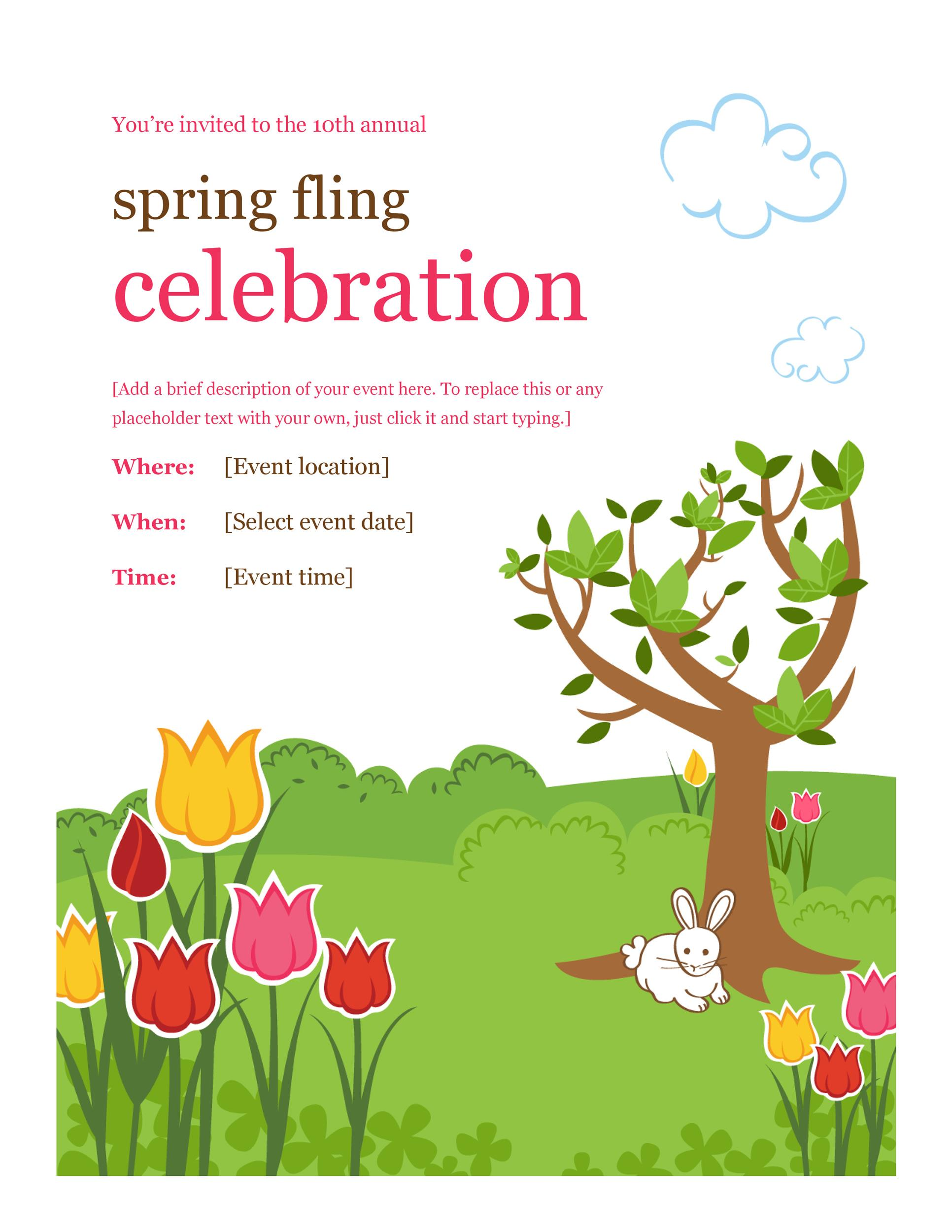 Spring Event Flyer Template Blank