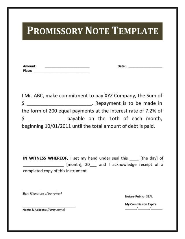 17 FREE Promissory Note Templates & Forms [Word & PDF] ᐅ TemplateLab