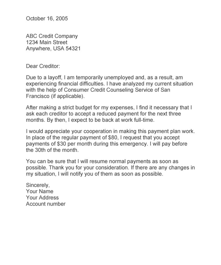 Sample Letter To Creditors | Docoments Ojazlink