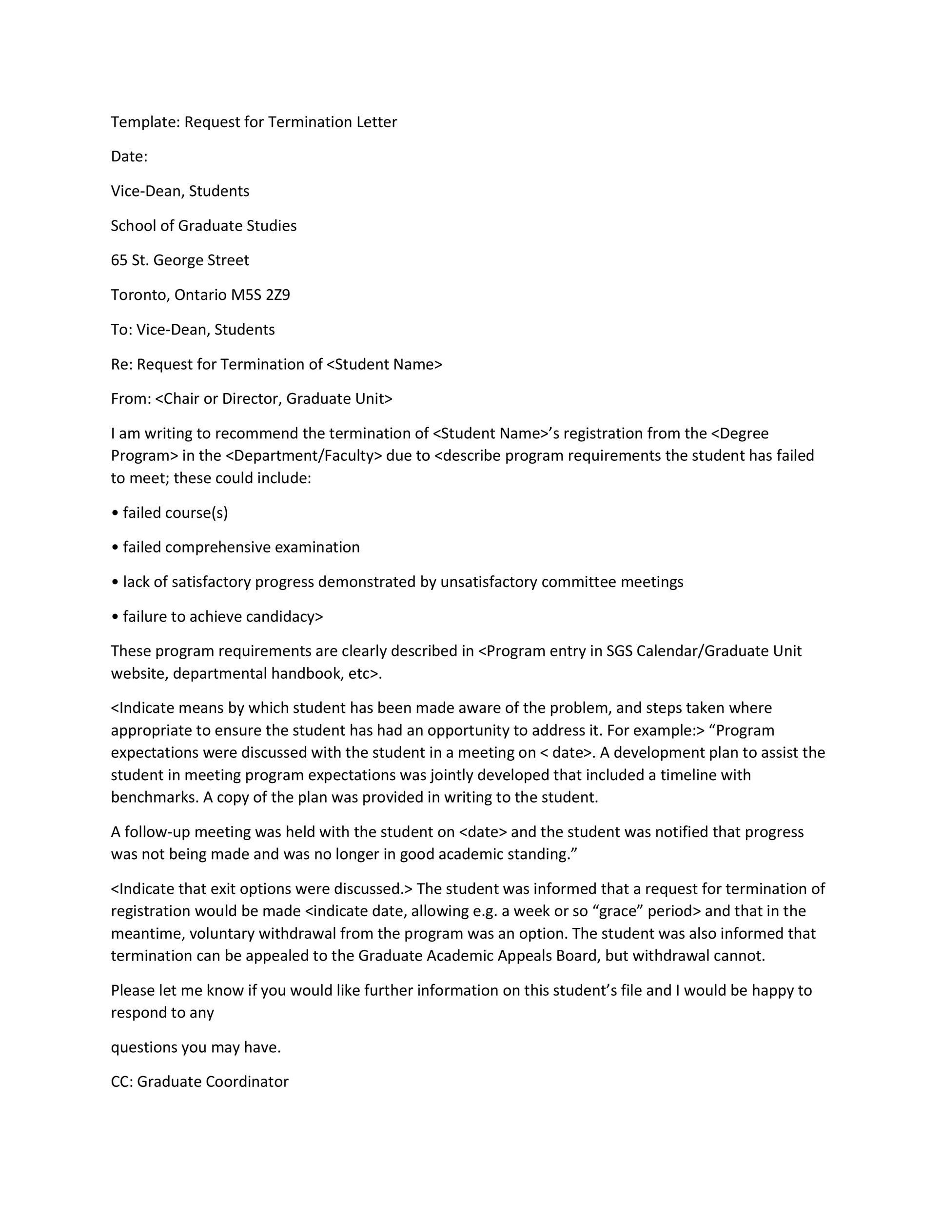 No Longer Employed Letter Sample